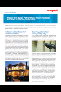 Cost Comparison: Closed Cell Spray Polyurethane Foam Insulation