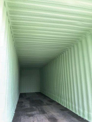 a spray polyurethane foam installation to a shipping container unit that was to be utilized to store security cameras, audio and video components, and some computers